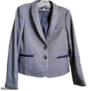Tommy Hilfiger blue check blazer with elbow patch